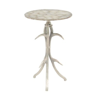 Avion Traditional Aluminum and Agate Round End Table with Segmented Base