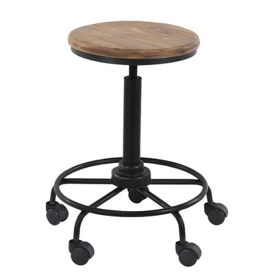 Arseny Rustic Round 23 Bar Stool with Wheels