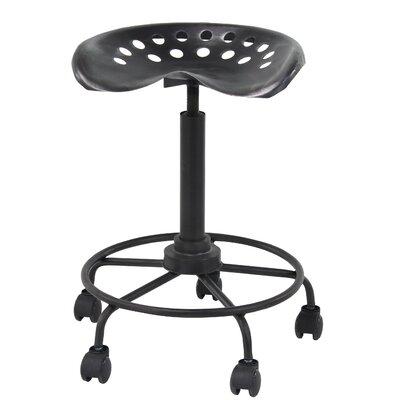 Steelton Modern Iron Adjustable Height Bar Stool with Wheels
