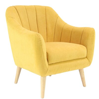 Veasley Modern Cushioned Armchair Upholstery: Bright Yellow