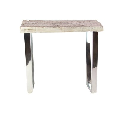 Womble Contemporary Wood and Stainless Steel End Table