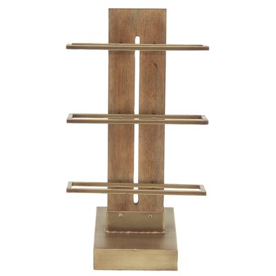 Camire Contemporary 3-Tiered Wood and Metal Tabletop Wine Bottle Rack