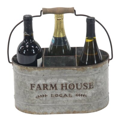 Saxton Farmhouse 6-Bottle Tabletop Wine Bottle Rack