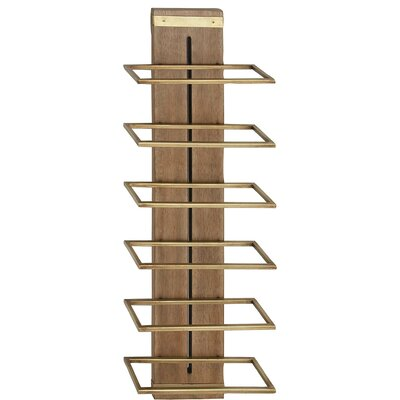Cammarata Modern Wood and Iron 5-Bottle Wall Mounted Wine Bottle Rack