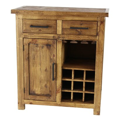 Bergeronnes Rustic Pine Wood Brown 9-Bottle Floor Wine Cabinet with Drawers and Stemware Rack Finish: Brown