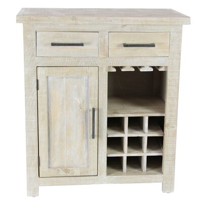 Bergeronnes Rustic Pine Wood Brown 9-Bottle Floor Wine Cabinet with Drawers and Stemware Rack Finish: White