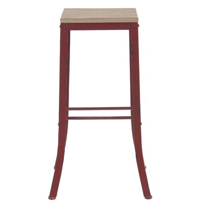 Hoan Industrial Fir Wood and Iron Square 29 Bar Stool Color: Red