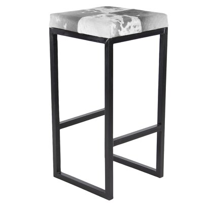 Bo�tes Traditional Iron and Leather Hide Square 29 Bar Stool