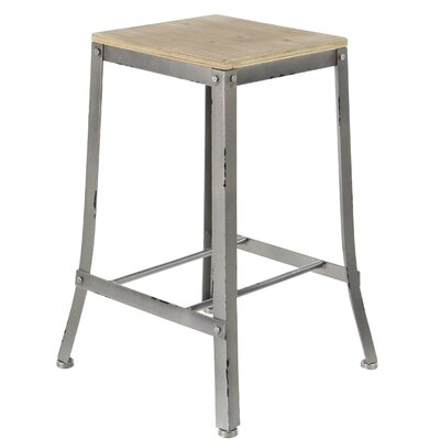 Hoan Industrial Fir Wood and Iron Square Counter 24 Bar Stool Color: Gray