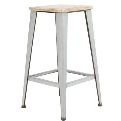 Brandunn Industrial Wood and Iron Square 29 Bar Stool