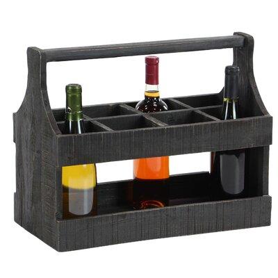 Rustic 8-Bottle Tabletop Wine Holder Color: Black