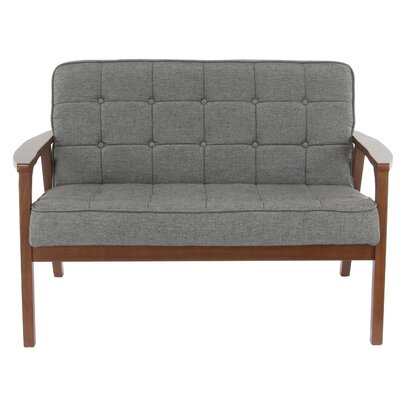 Vecchio Wood and Fabric Tufted Cushioned Loveseat Upholstery: Brown
