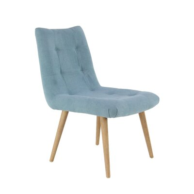 Veazey Modern Tufted Upholstered Dining Chair Upholstery Color: Blue, Leg Color: Brown
