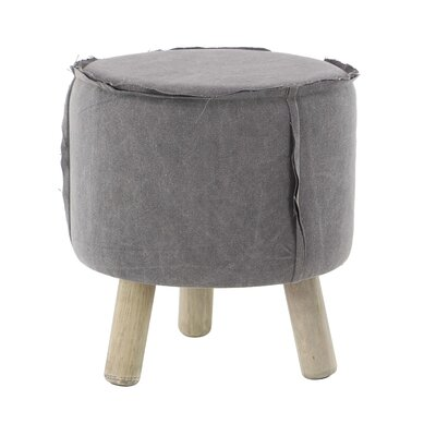 Taj Cottage Round Wood and Fabric Cushioned Ottoman Upholstery: Gray
