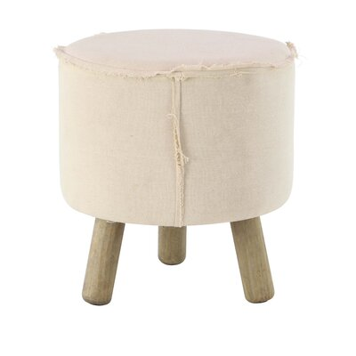 Taj Cottage Round Wood and Fabric Cushioned Ottoman Upholstery: White