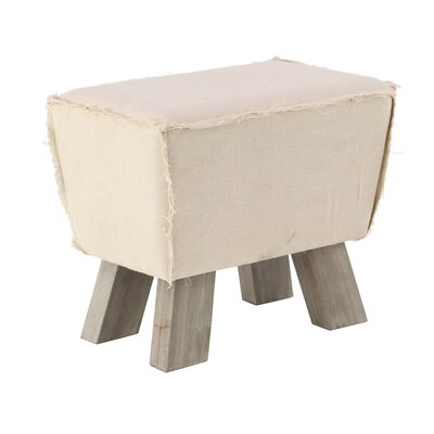 Carmela Cottage Trapezoid Wood and Fabric Cushioned Ottoman Upholstery: White