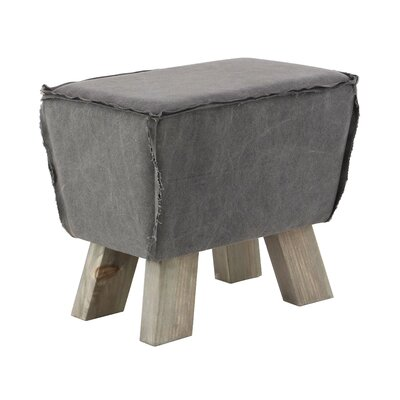 Carmela Cottage Trapezoid Wood and Fabric Cushioned Ottoman Upholstery: Gray