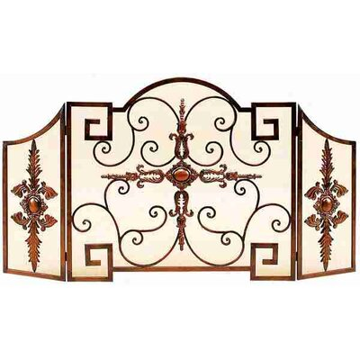 Toscana Leaves and Flower Design 3 Panel Metal Fireplace Screen