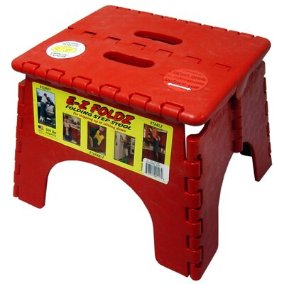1-Step EZ Folds Folding Step Stool with 300 lb. Load Capacity Color: Red