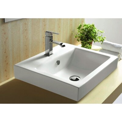 Ceramica Ceramic Rectangular Drop-In Bathroom Sink with Overflow