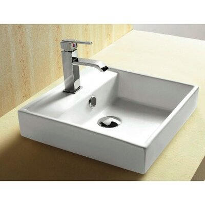 Ceramica Square Vessel Bathroom Sink with Overflow