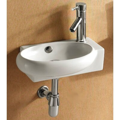 Ceramic 18 Wall Mount Bathroom Sink with Overflow Faucet Mount: Right