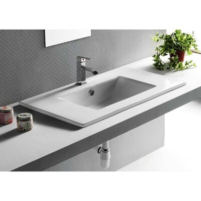 Ceramica Ceramic Self Rimming Bathroom Sink with Overflow