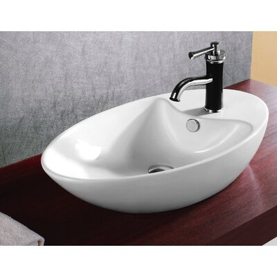 Ceramica Oval Vessel Bathroom Sink with Overflow