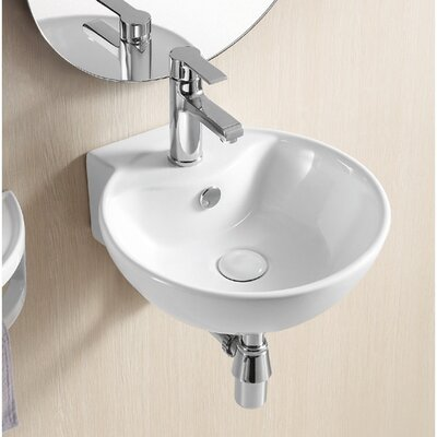 Ceramica II 16 Wall Mounted Bathroom Sink with Overflow