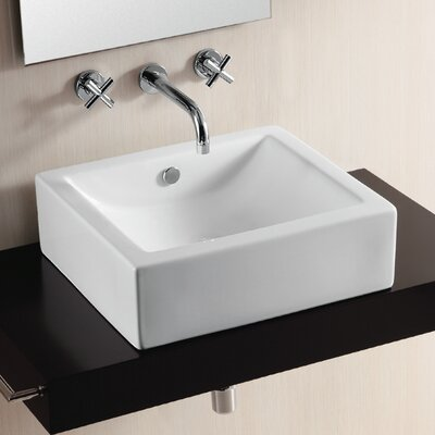 Ceramica II Rectangular Vessel Bathroom Sink with Overflow