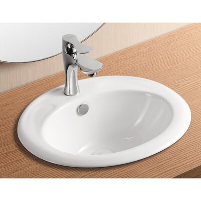 Ceramica II Ceramic Oval Drop-In Bathroom Sink with Overflow