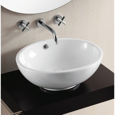 Ceramica II Oval Vessel Bathroom Sink with Overflow