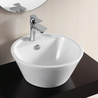 Ceramica II Circular Vessel Bathroom Sink with Overflow