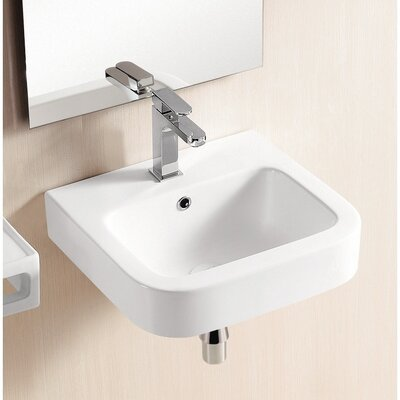 Ceramic 19 Wall Mount Bathroom Sink with Overflow
