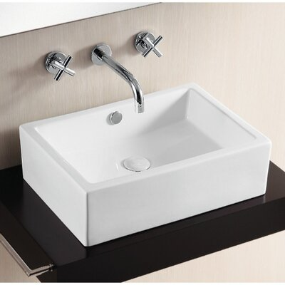 Ceramica Rectangular Vessel Bathroom Sink with Overflow
