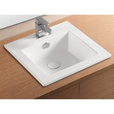 Ceramica II Ceramic Rectangular Drop-In Bathroom Sink with Overflow