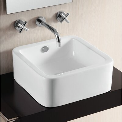 Ceramica II Ceramic Square Vessel Bathroom Sink with Overflow