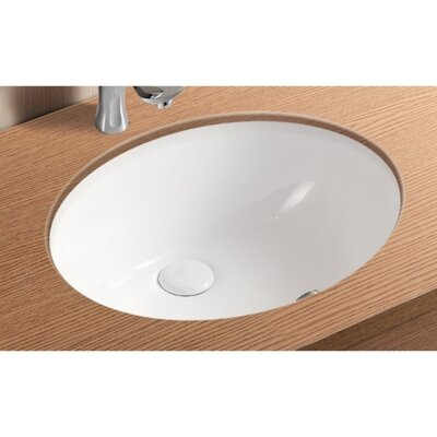 Ceramica II Ceramic Oval Undermount Bathroom Sink with Overflow