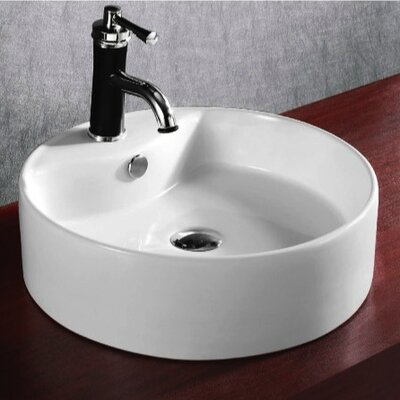 Ceramica Ceramic Circular Vessel Bathroom Sink with Overflow