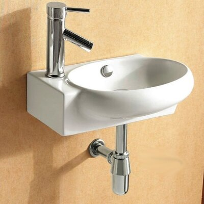 Ceramic 18 Wall Mount Bathroom Sink with Overflow Faucet Mount: Left