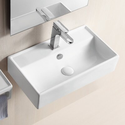 Ceramica II 22 Wall Mounted Bathroom Sink with Overflow