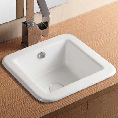 Ceramica II Ceramic Square Drop-In Bathroom Sink with Overflow