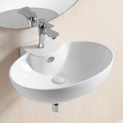 Ceramica II 24 Wall Mounted Bathroom Sink with Overflow