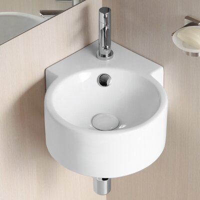 Ceramic 18 Corner Bathroom Sink with Overflow