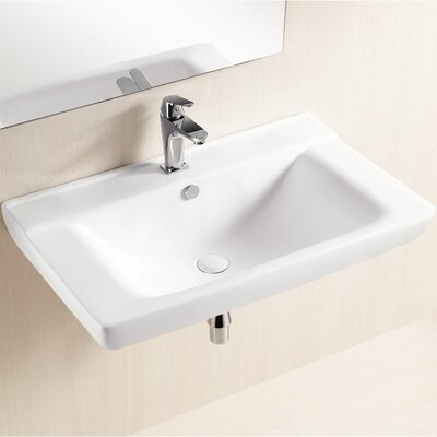Ceramic 32 Wall Mount Bathroom Sink with Overflow