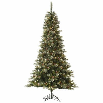 Iced Sonoma Pencil 8' Green Spruce Artificial Christmas Tree with 800 Dura-Lit Clear Lights