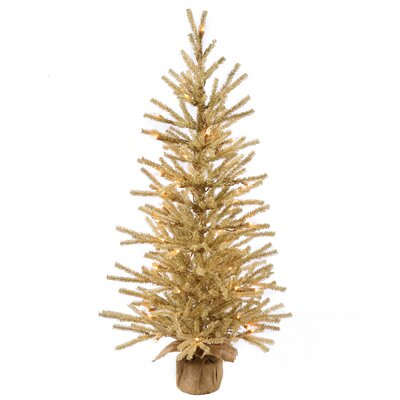 Vickerman Champagne 1.5' Burlap Base Artificial Christmas Tree with 20 Clear Light