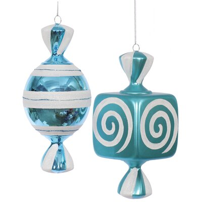 2 Piece Fat Candy Christmas Ornament Set Color: Teal / White