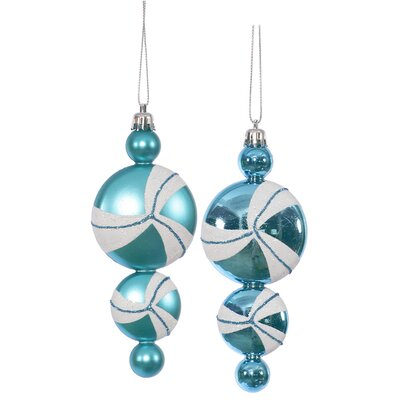 Candy Dangle Christmas Ornament Color: Teal / White