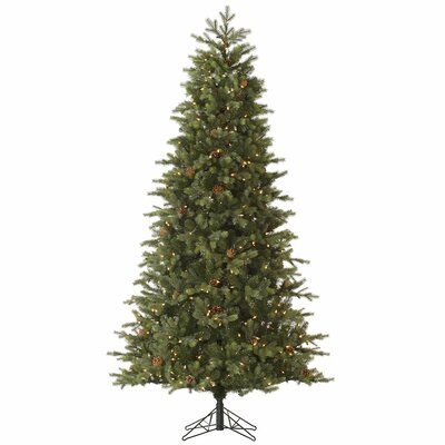 Slim Rocky Mountain 7.5' Green Fir Artificial Christmas Tree with 550 Dura-Lit Clear Lights